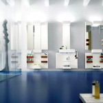 Stunning photo of modern bathroom with blue interior design
