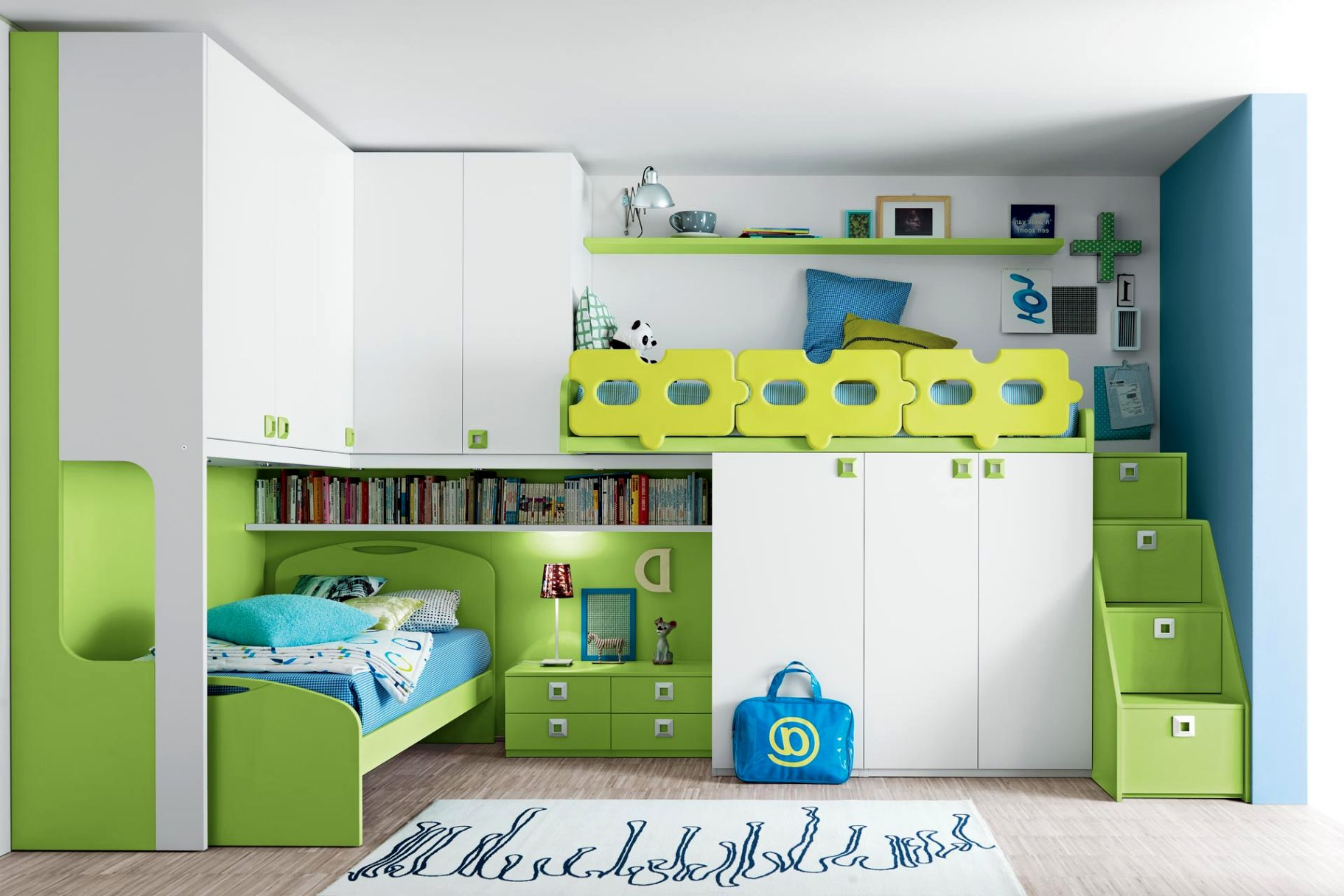 Stylish modern kids loft beds design incorporating green for Modern kids bunk beds