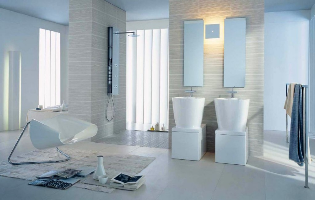 Superb image of modern bathroom interior design featuring all white color scheme