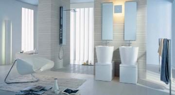 Superb image of modern bathroom interior design featuring all white color scheme