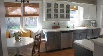 White And Grey Kitchen Cabinets Design With Marble Backsplash