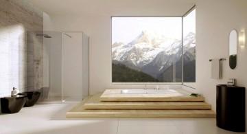Zen-themed modern bathroom interior design featuring large windows