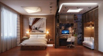 featured Warm and inviting home office in bedroom with brown wooden floor and ample lighting