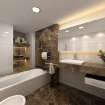 modern bathroom interior design featuring marble vanity and dark floor