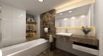 modern bathroom interior design featuring marble vanity and dark floor