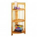 short three tiered small corner shelving unit