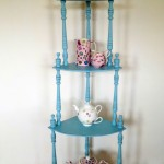 vintage looking small corner shelving unit