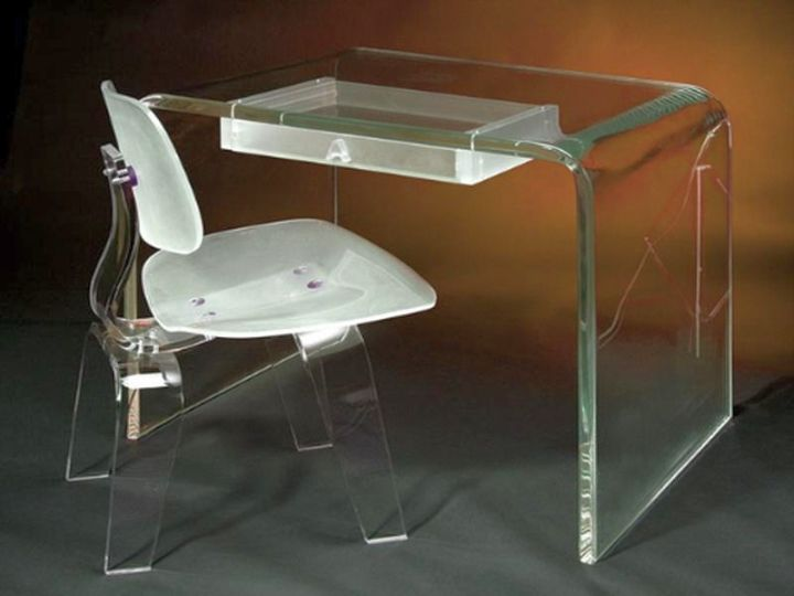 Acrylic Computer Desk with hidde compartment