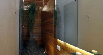 Asian inspired cool modern bathrooms for narrow space