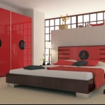 Asian inspired red black and white bedroom ideas