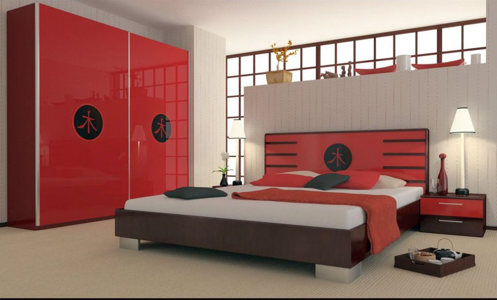 asian inspired red black and white bedroom ideas. Black Bedroom Furniture Sets. Home Design Ideas