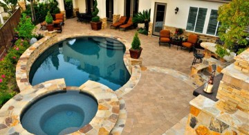 Backyard pool designs with jacuzzi for limited space