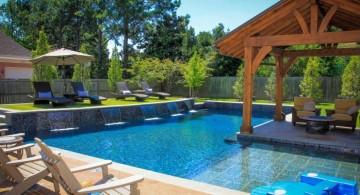 Backyard pool designs with pool island