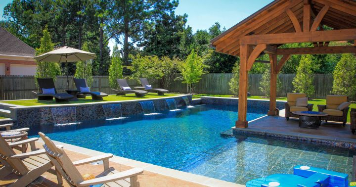 Backyard pool designs with pool island
