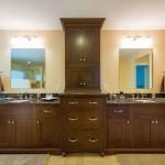 Bathroom vanity lighting ideas with dark woods cabinet
