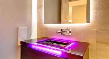 Bathroom vanity lighting ideas with faux wood wall and tile