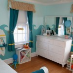 Beach themed awesome rooms for girls with waves decals