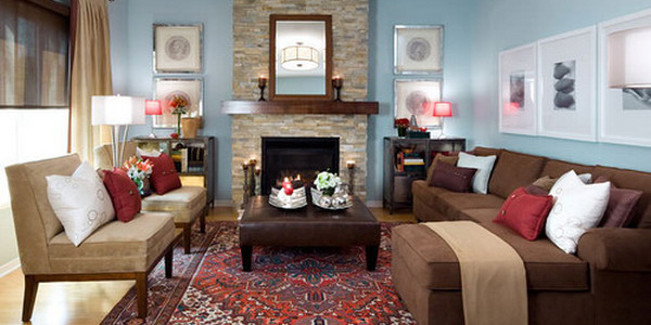 17 pleasant blue and brown living room designs for Red and brown living room furniture