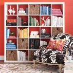 Bookshelf Decorating Ideas with Red Background