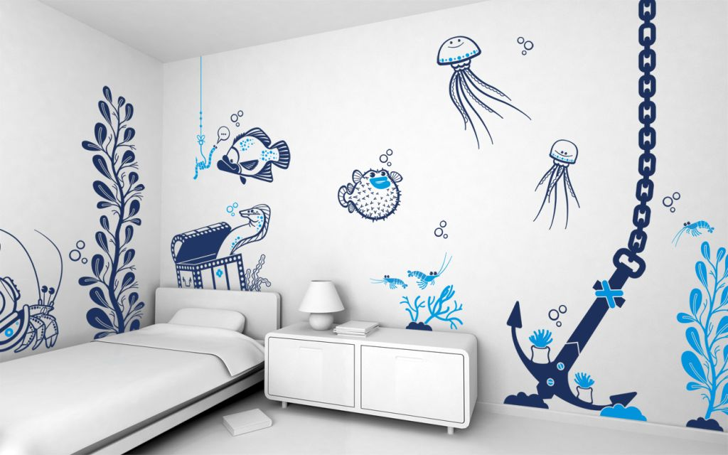 Cool wall painting designs underwater living - Cool room painting ideas ...
