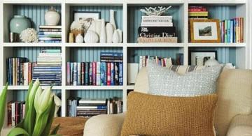 Decorating bookshelf with art crafts