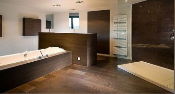Elegant and minimalist brown bathroom ideas with dark brown tiles