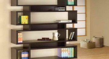 Elegant criss cross bookshelf design in zen-inspired interior