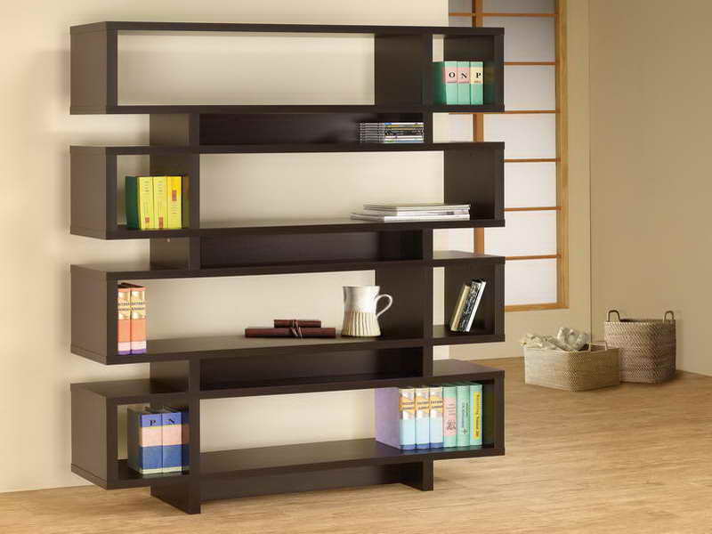 Elegant Criss Cross Bookshelf Design In Zen Inspired Interior