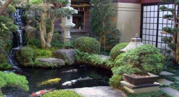 Japanese garden backyard design with Japanese sliding doors