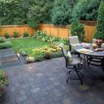 Japanese garden backyard design with patio and garden chairs