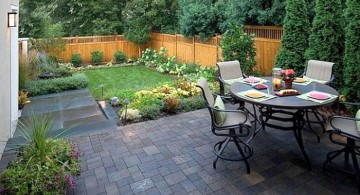 Japanese garden backyard design with patio and garden chairs