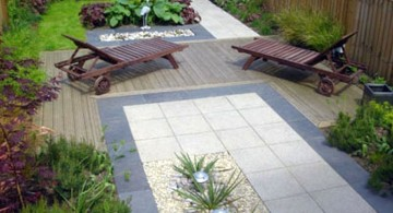 Japanese garden backyard design with rattan lounge chairs