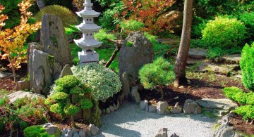 Japanese garden backyard design with stone pagoda