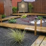 Japanese garden backyard design with wood pathway