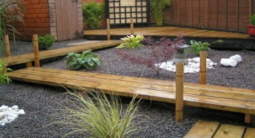 Japanese garden backyard design with wood pathway
