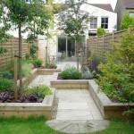 Japanese garden backyard design with zigzag design and patio