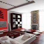 Japanese paintings on japanese inspired living room