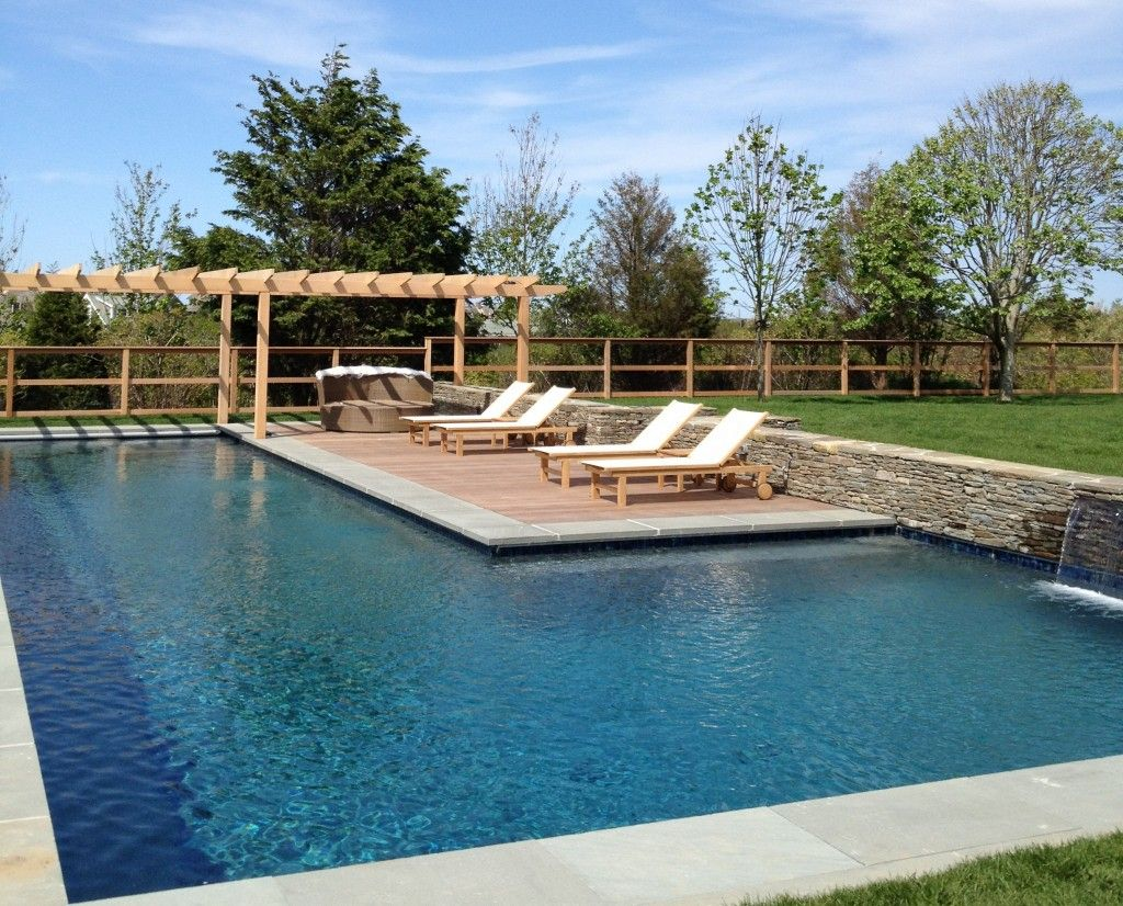 L shaped pool shapes and designs with seating area