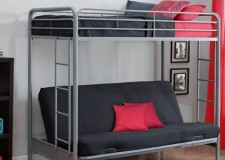 Metal twin loft bed with industrial-designed stairs for adults