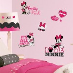 Minnie Mouse decals pink and black wall decor