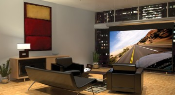 Modern Entertainment Room Ideas with Black Furniture and a Very Large LCD TV