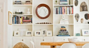 Modern White Bookshelf Decorating Ideas in a Dining Room