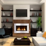 Neat contemporary bookshelf decoration in a warm and cozy living room