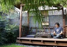 Peaceful japanese style backyards with airy gazebo