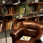 Rustic Bookshelf Decorating Ideas in Dark Brown