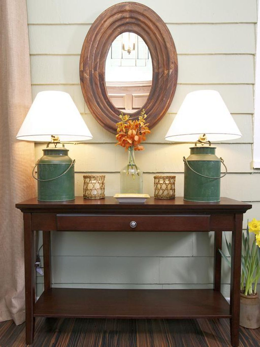 Foyer Table Oval : Rustic style small entry table ideas with oval mirror