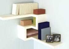 Simplistic modern floating corner shelf designs