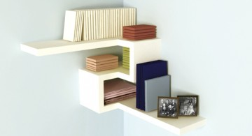 Simplistic modern floating corner shelf designs