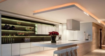 Suspended ceiling for modern kitchen with superb lighting design