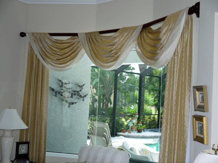 Three open swag valance patterns with bar